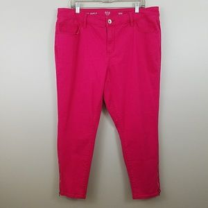 a.n.a Pink Skinny Ankle Jeans With Zippers Sz 18W